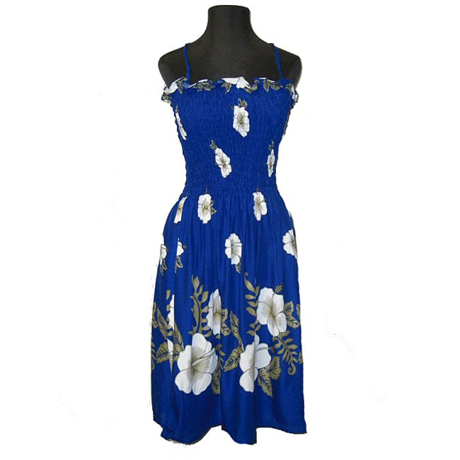 ca28ca4516 Shop Hibiscus Collection Women s Blue Hawaiian Dress - Free Shipping On  Orders Over  45 - Overstock - 3865152