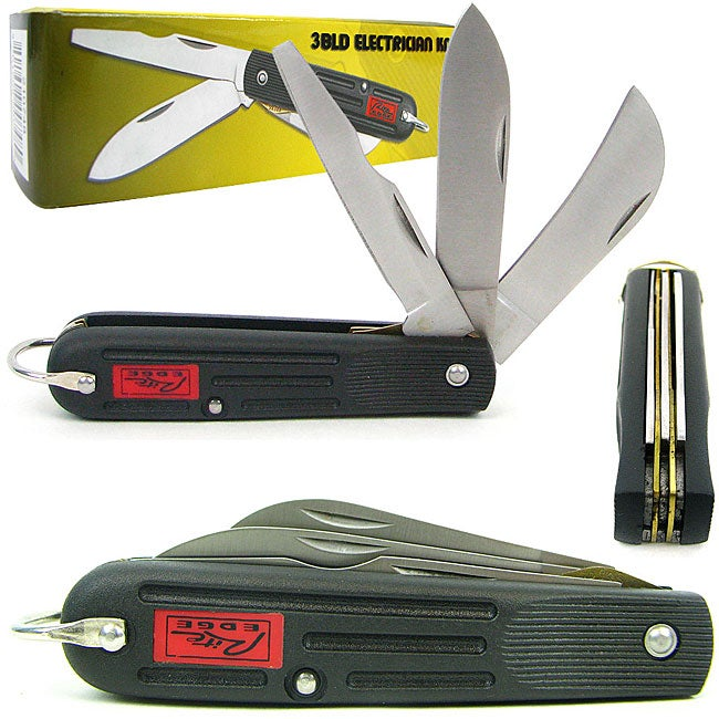 Stainless Steel Electrician's 3-blade Pocket Knife