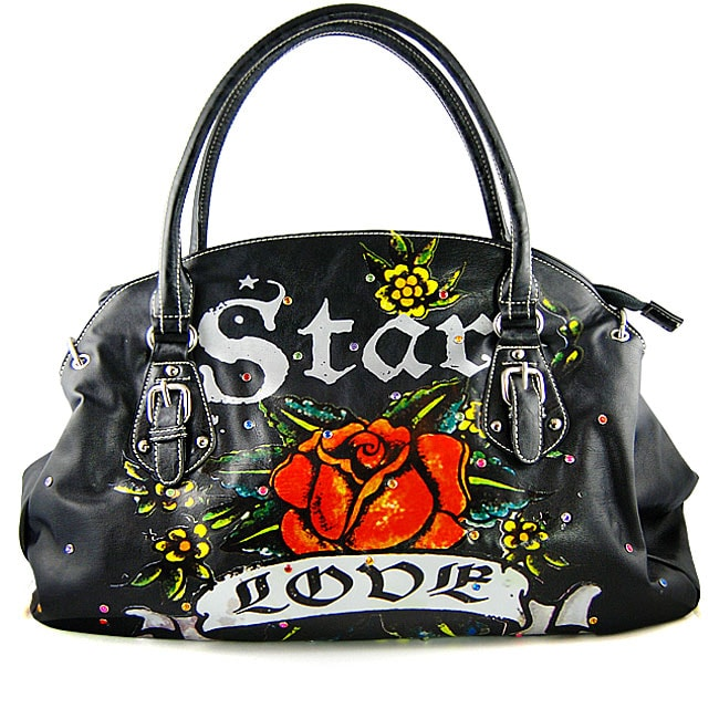 Tattoo-style 'Star, Love and Rose' Black Handbag