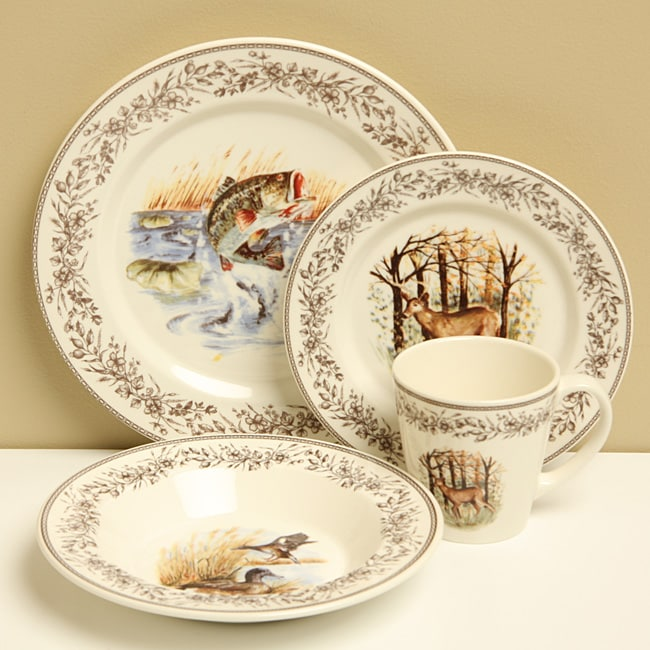 Zrike Wildlife 16 Piece Dinnerware Set Free Shipping