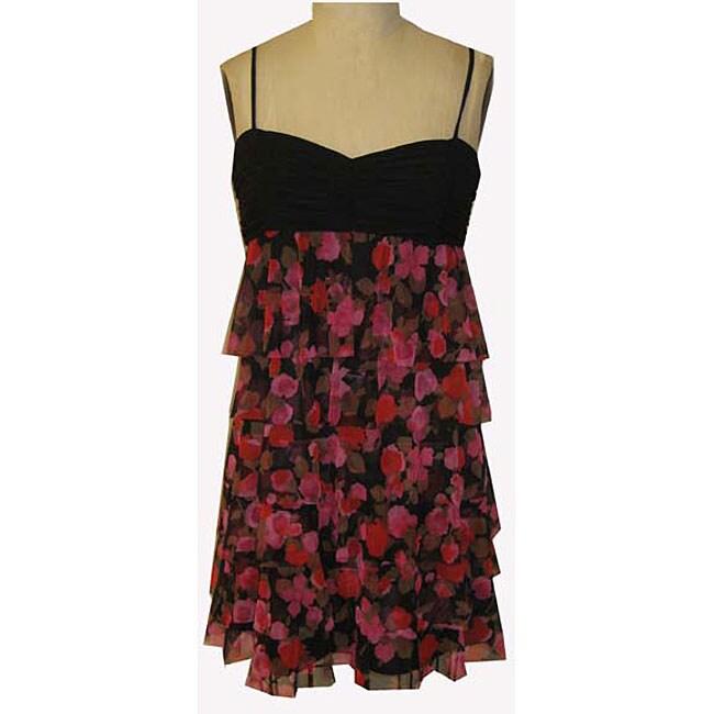 London Times Womens Floral Print Mesh Dress
