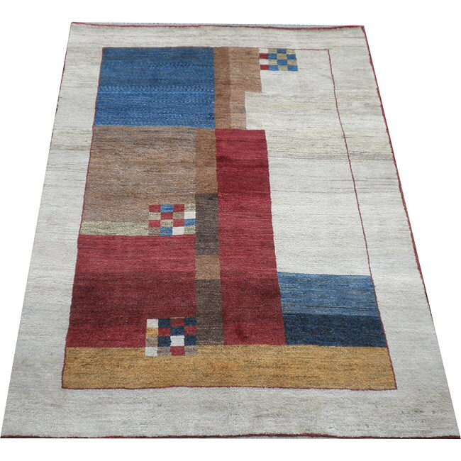 Shop Oriental Persian Gabbeh Shades Of Orange Hand Knotted: Persian Handmade Red/ Ivory Gabbeh Rug (5'7 X 7')