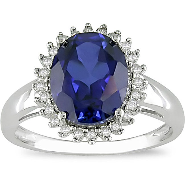 10k Gold Created Sapphire and 1/5ct TDW Diamond Ring