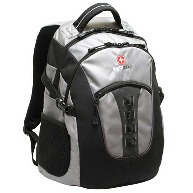 Shop Wenger Swiss Gear Serge Silver Black Laptop Backpack - Free Shipping  Today - Overstock - 3872406 c8b647a4f5ed5