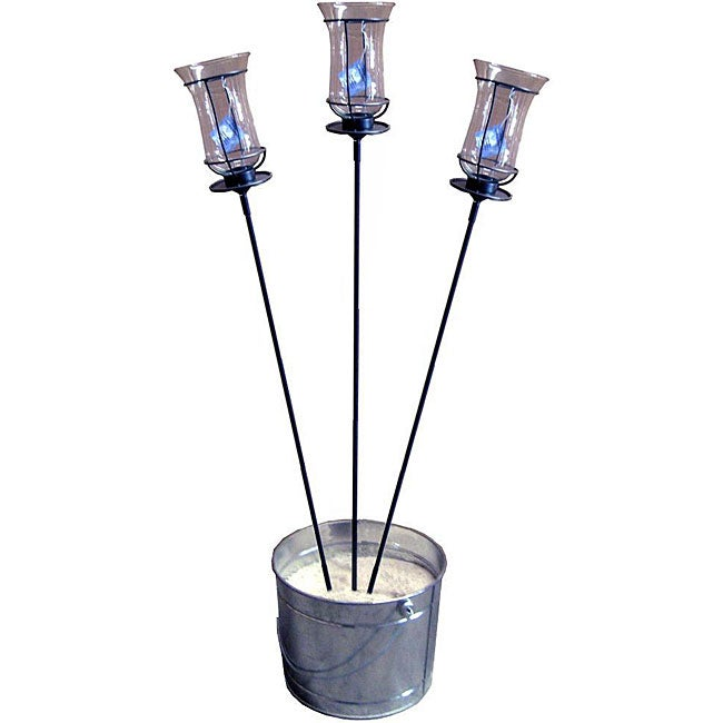 Pewter 62-inch Garden Stakes/ Champagne Torches (Set of 3)