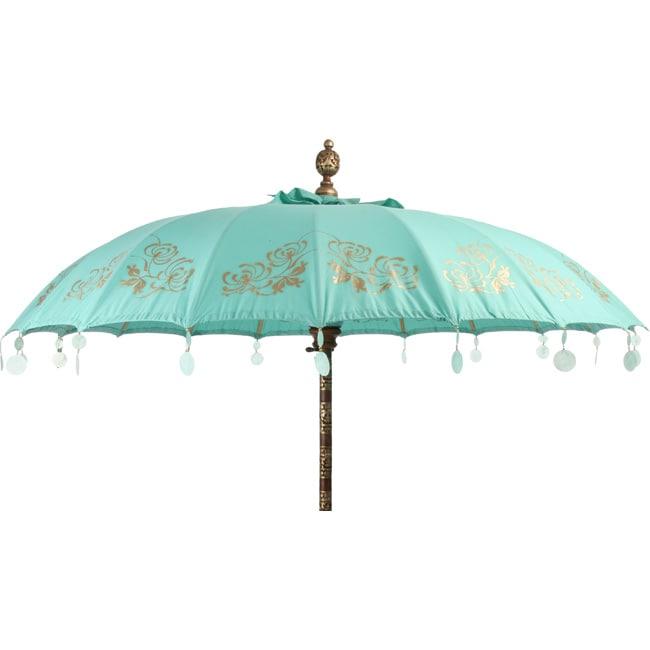 Shop Turquoise Chrysanthemum Patio Umbrella Indonesia