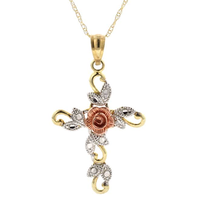 10k Yellow White And Rose Gold Cross Necklace Free