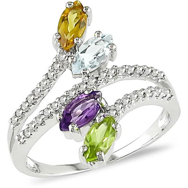 14k Gold Multi-gemstone and 1/5ct TDW Diamond Ring (H-I, I1-I2)