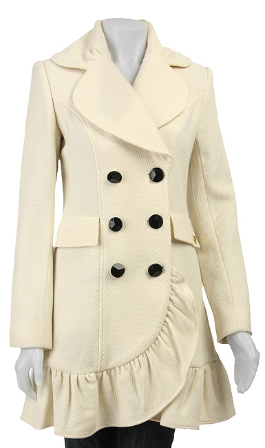 Betsey Johnson Women's Ruffle Cashmere Blend Walker Coat - Thumbnail 0