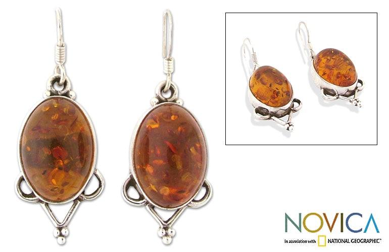 Amber 'Summer Warmth' Dangle Earrings (India)