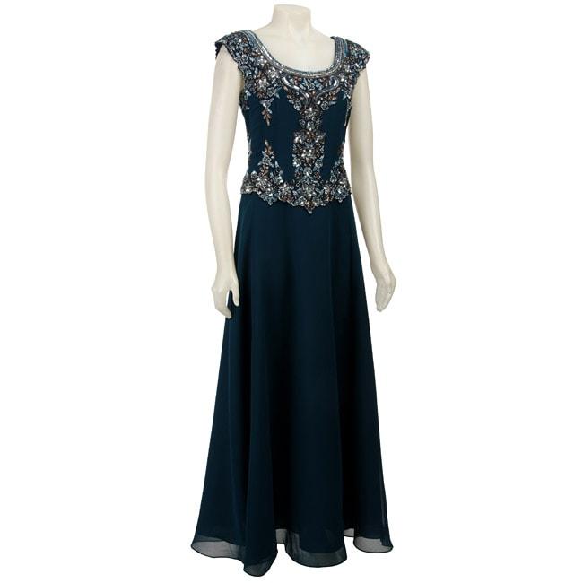 da14115290d Shop J Kara Cap-sleeve Beaded Teal Long Formal Dress - Free Shipping Today  - Overstock - 3889387