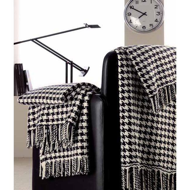 Fringed Houndstooth Wool Throw Blanket