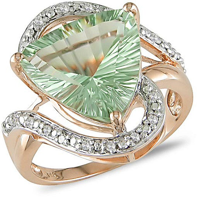 14k Gold Green Amethyst and 1/10ct TDW Diamond Ring