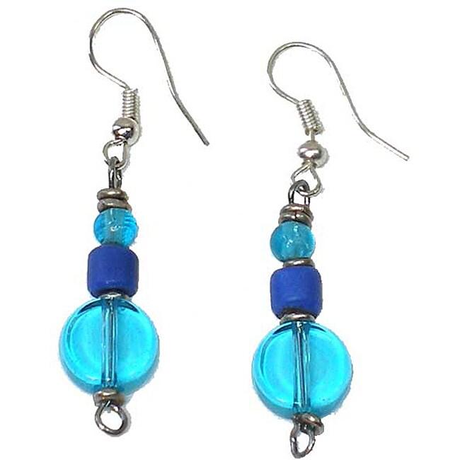 Blue Flat Bead Earrings (Kenya)
