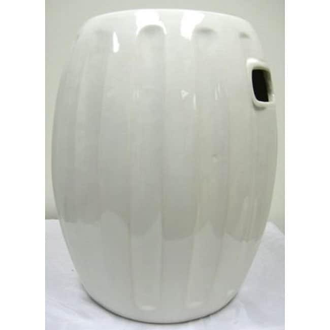 Pumpkin White Ceramic Garden Stool