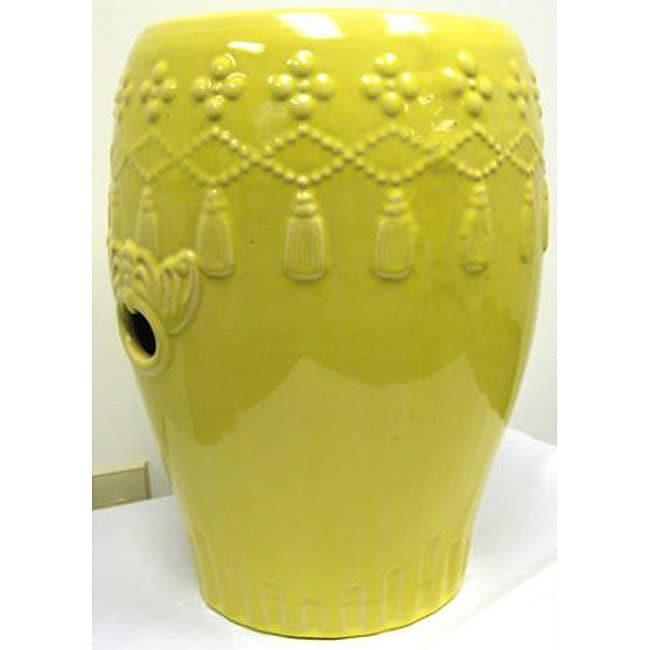 Hanging Tassels Yellow Garden Ceramic Stool