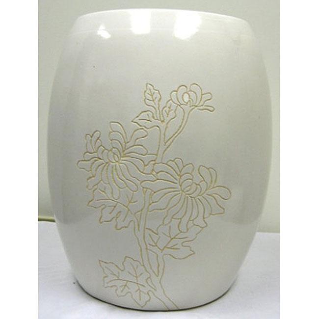 Floral White Ceramic Garden Stool