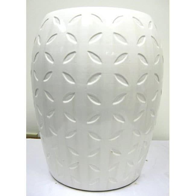 Lattice White Ceramic Garden Stool Free Shipping Today