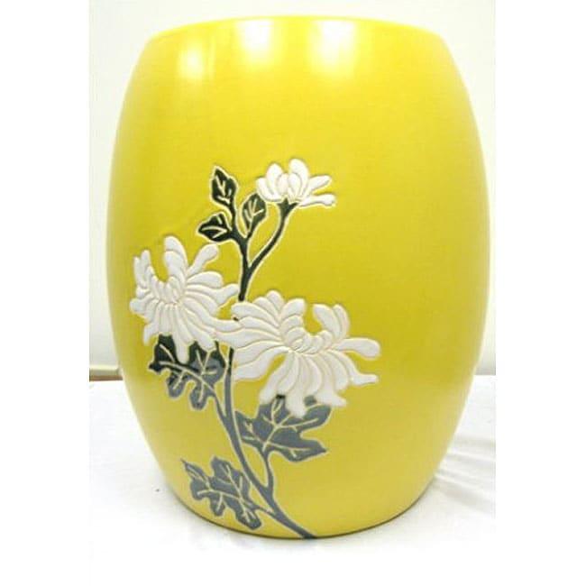 Shop Floral Yellow Ceramic Garden Stool Free Shipping
