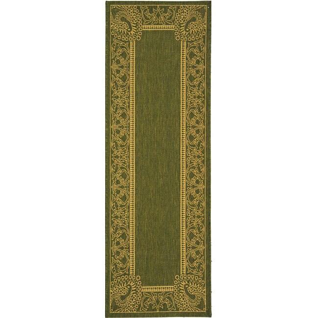 Safavieh Indoor/ Outdoor Abaco Olive/ Natural Runner (2'4 x 6'7)