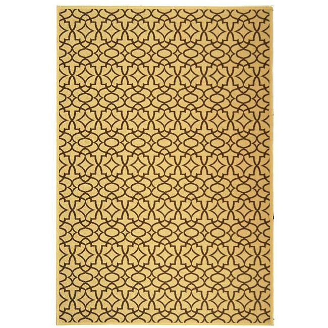 Safavieh Courtyard Natural/ Chocolate Indoor/ Outdoor Rug - 6'7 x 9'6