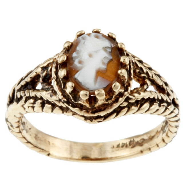 14k Yellow Gold Antiqued Cameo Ring