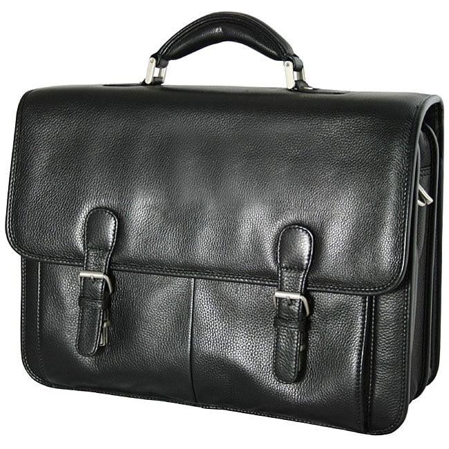 Bacara Deluxe Black European Leather Laptop Case