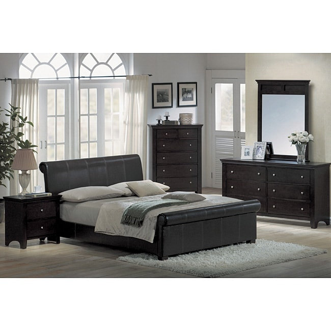 Contemporary Espresso Leather 5 Piece King Size Bedroom Set Free Shipping Today Overstock