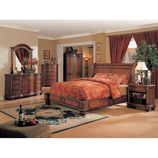 Longmire 4-piece Cherry Low-profile King-size Bedroom Set
