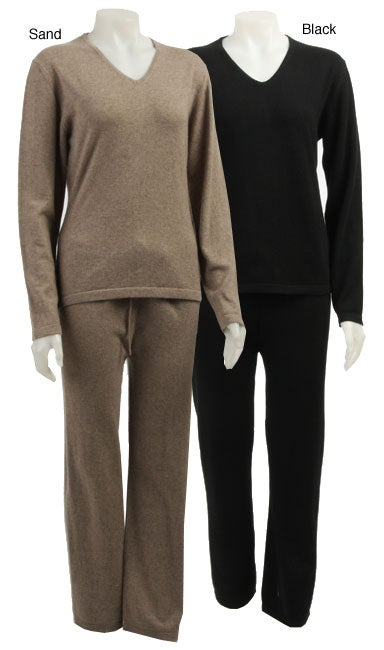 e4638a33286a Shop Cashmere Showroom Women s Cashmere Pajamas - Free Shipping Today -  Overstock - 3915288