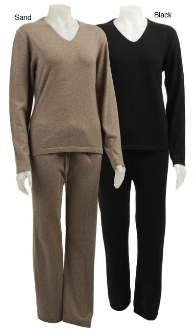 f467fa53fcb7 Shop Cashmere Showroom Women s Cashmere Pajamas - Free Shipping Today -  Overstock - 3915288