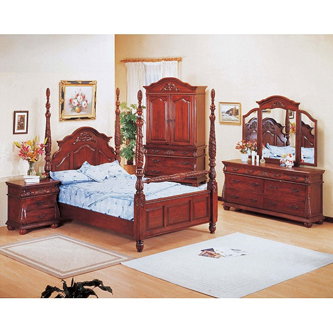 Hudson Cherry 4 Piece Poster Queen Size Bedroom Set Free Shipping Today 11947828