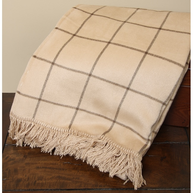 Microfiber Tan Plaid Throw Blanket (Set of 2)