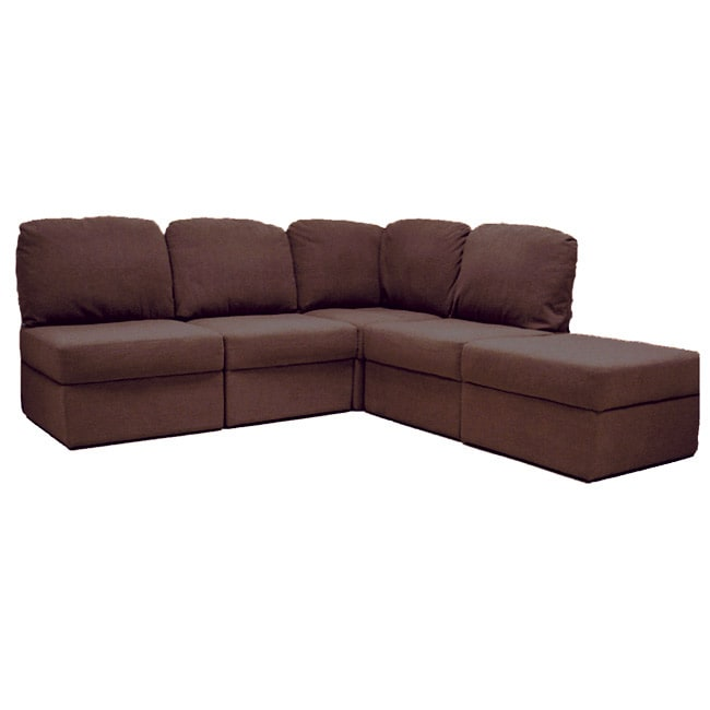 Dark Brown 5 Piece Modular Storage Sectional Sofa Free