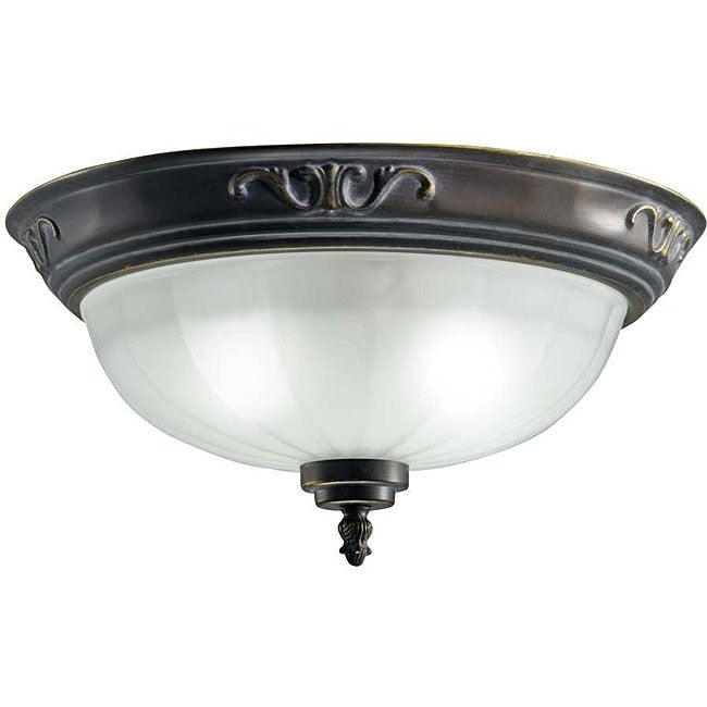 Oil-rubbed Bronze 2-light Flush-mount Fixture