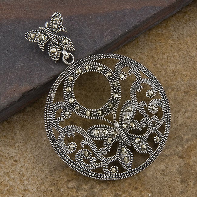 Sterling Silver Marcasite 'Butterfly' Pendant (Thailand)