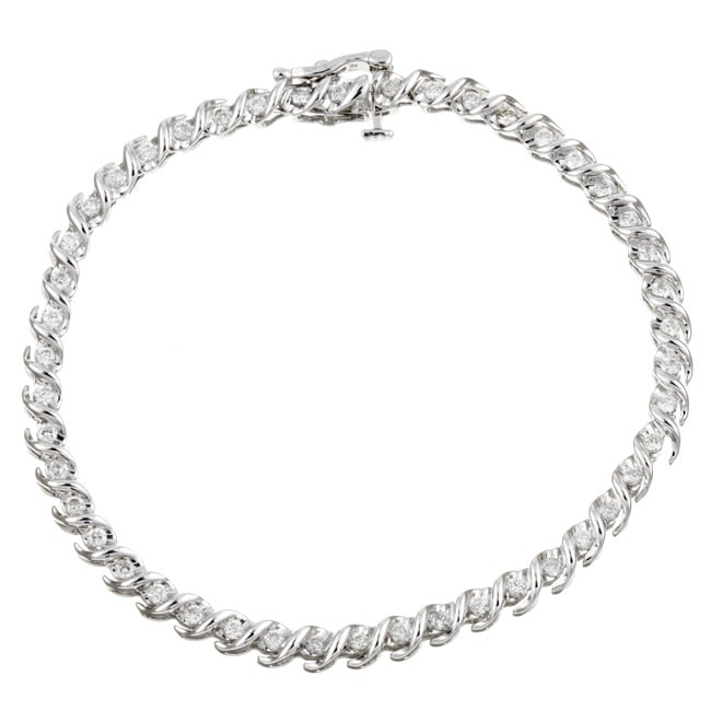 14k White Gold 1ct TDW Diamond Tennis Bracelet (G-H, I2)