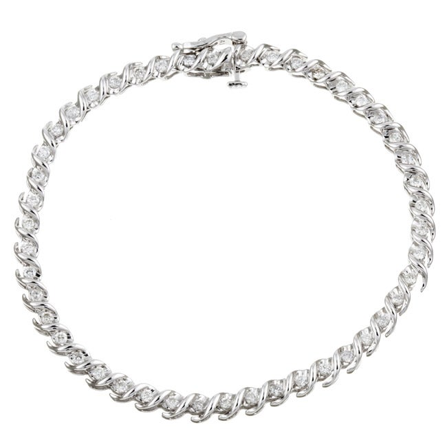 14k White Gold 1ct TDW Diamond Tennis Bracelet (G-H, I2) - Thumbnail 0