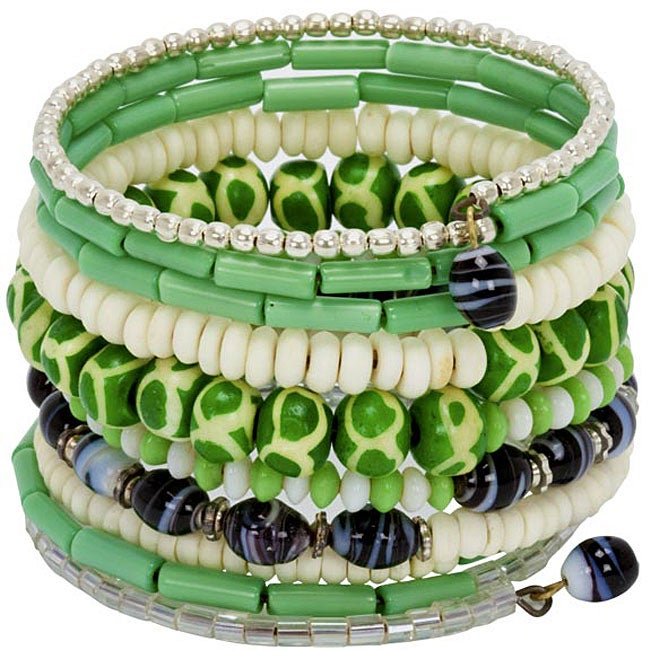 Bone and Bead Forest Green 10-turn Bracelet (India)
