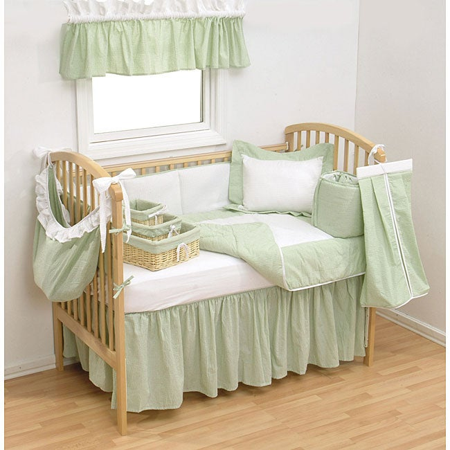 Shop Trend Lab Sage Gingham 4 Piece Crib Bedding Set