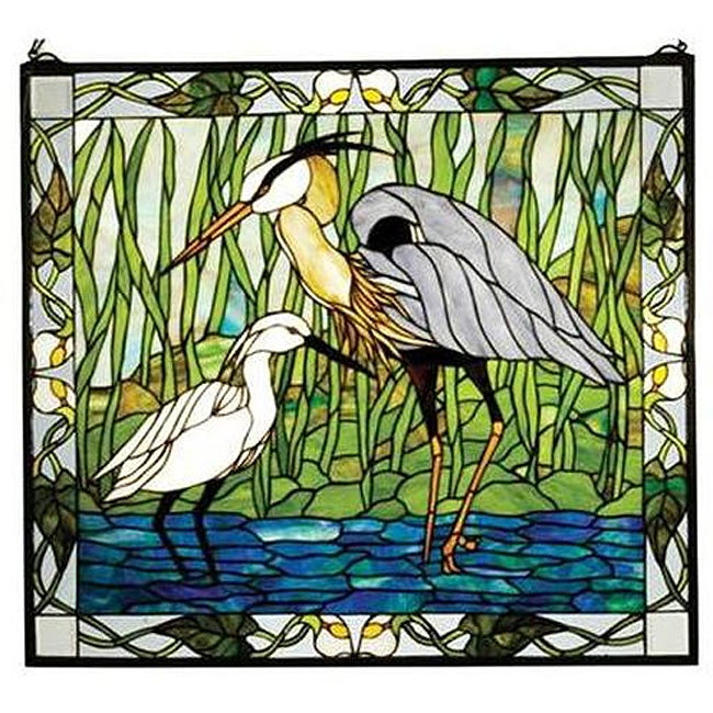 Blue Heron And Snowy Egret Stained Glass Window Free