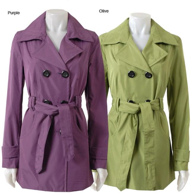 Black Rivet Women's Belted Short Trench Coat