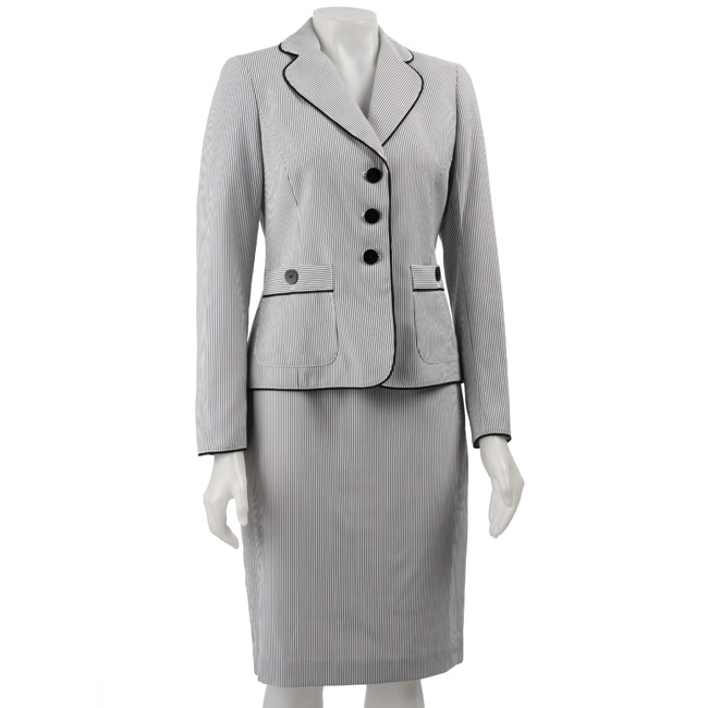 Nine West Women's 2-piece Seersucker Skirt Suit