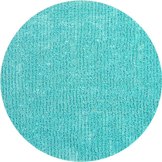 Bright Blue Fleece Shag Rug (5' Round)