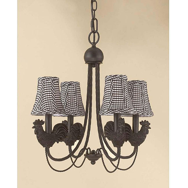 Rooster 4-light Antique Iron Chandelier