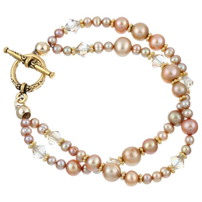 Charming Life 22k Gold-plated Pewter Pearl and Crystal Bracelet (4-8.5 mm)