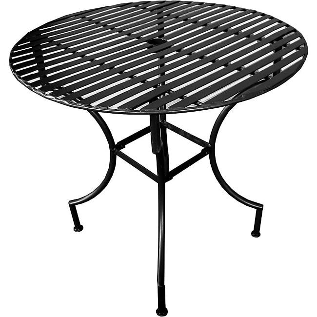 Iron Folding Round Patio Table with Umbrella Hole- Black