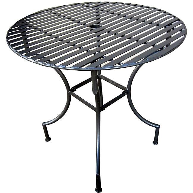 Iron Round Folding Patio Table With Umbrella Hole  Pewter