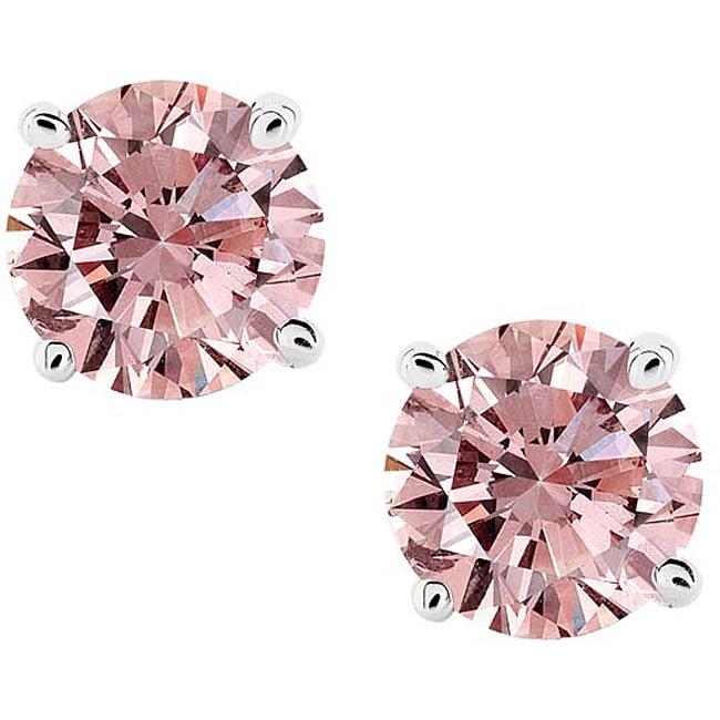 14k White Gold 7/8ct TDW Pink Diamond Stud Earrings (SI)