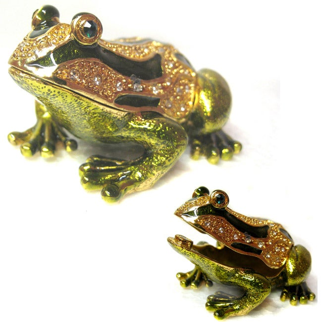 Kabella Green and Gold Frog Jewelry Box with Rhinestones